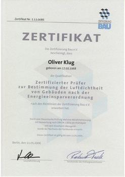 Luftdichtheitsprüfer 2006 - 2009 - Oliver Klug