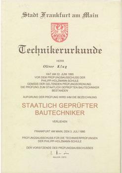 Technikerurkunde - Oliver Klug